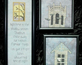 """Cross Stitch Chart """"Shadows"""" with buttons"""