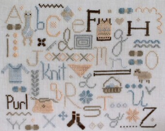 The Knitter's Alphabet cross stitch chart by October House