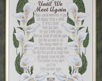 Until We Meet Again cross stitch chart and threads by Glendon Place