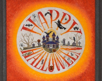 Halloween ala Round cross stitch chart and thread pack by Glendon Place