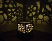 Loft style light projector shadow lamp wood gears