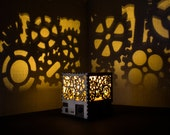 Loft style light projector shadow lamp wood gears. Steampunk nightlight. ECO friendly lamp shade.