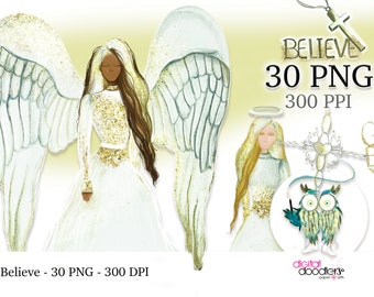 Believer Inspired Print on Demand Angels and Crosses, God Bless You PNG, Religious Watercolor Painted Clipart, Free Commercial Use PNGs