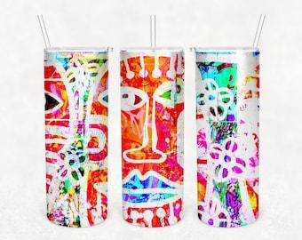 20 oz Skinny Tumbler, Digital Image Transfer, Graffiti Art Background, Digital Paper, Multi Purpose, Commercial Free Tumbler, Abstract Face
