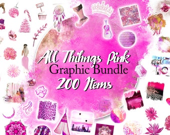 All Things Pink Bundle, Photoshop Overlays, Swatches, Paint, Backdrop, Painted Circles, Clip Art, See Through, Pink Illustrations, Banners