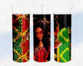 Jamaican Reggae Brush Stroke Sublimation, Image Transfer, Juneteenth, Gift for Reggae lover, Reggae Music PNG, One love Reggae Tumbler Wrap