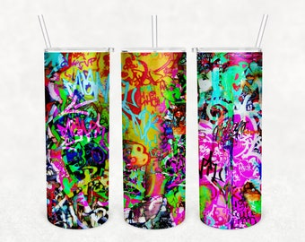 20 0z skinny tumbler designs, Neon Graffiti Tumbler Digital Sublimation Transfer, For Free Commercial Use, Abstract Backgrounds Tumbler Wrap