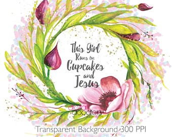 Religious Girly Cupcakes and Jesus Sublimation, Rustic and Country Clipart Graphics for Free Commercial Use