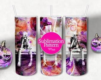 20 0z skinny tumbler designs, Skeletons Tumbler, Digital Sublimation Transfer, Amigos, Bros, Friends Halloween Tumbler Wrap, Ombre Paper