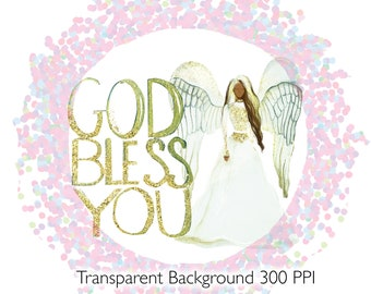 God Bless You Sublimation Black Angel Clipart Graphic, Digital Image Transfer, Small Commercial Use, License Available, PNG, Glitter Overlay