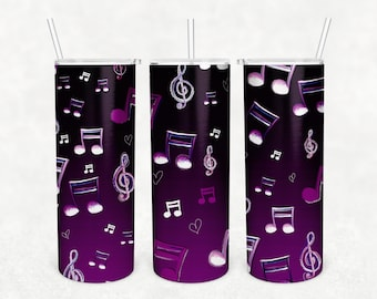 20 oz Skinny Tumbler I Heart Musica Purple Ombre Background Sublimation Designs PNG Instant DIGITAL ONLY, Tumbler Wrap