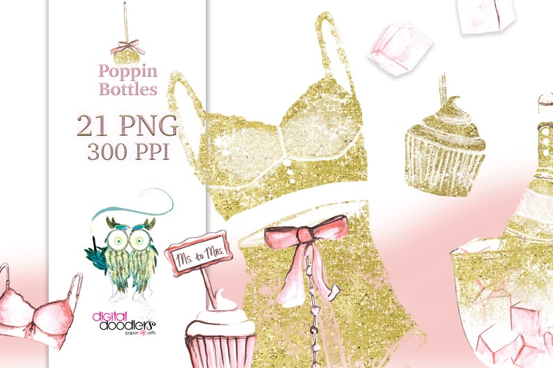 Glitter Overlay Lingerie Clipart See Through Graphics Gold image 0