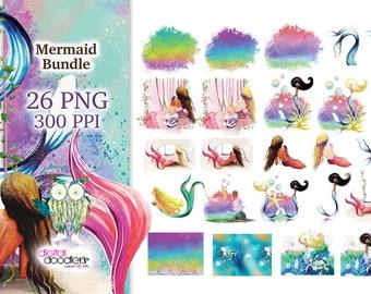 Mermaid Sublimation Bundle, Digital Transfer, Background Designs, Digital Image Transfer, African American Mermaid, Melanin Mermaid PNG