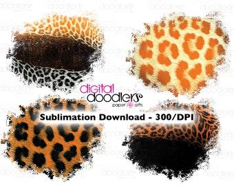 Leopard Print Sublimation Splash Backgrounds, Leopard Sublimation Bundle, Orange and Black, Halloween, Animal Print Image Transfer PNG