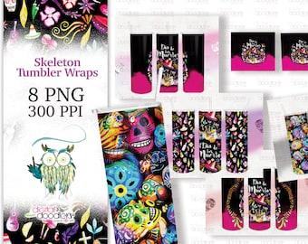 20 oz Skinny Tumbler Digital Transfer Halloween Bundle, Dia De Los Muertos Sublimation, Digital Paper, Hispanic Themed Background, Fall PNG