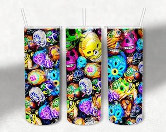 20 0z skinny tumbler designs, Graffiti Skull Tumbler, Digital Sublimation Transfer, Abstract Backgrounds, Halloween Tumbler Wrap
