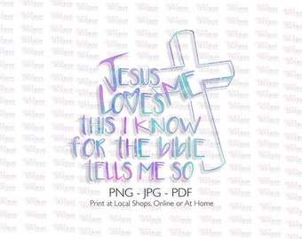 Jesus Loves Me This I Know For The Bible Tells Me So, PNG, SVG, Cutting File, Silhouette Cameo, Cricut, Circuit, Christian, Religious, Sign