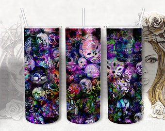 Dark Graffiti Skull Tumbler20 0z skinny tumbler designs, Digital Sublimation Transfer, Abstract Backgrounds, Halloween Tumbler Wrap