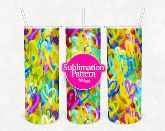 20 oz Tumbler, Graffiti Spray Paint Heart Sublimation Digital Transfer, Urban, Bright Heart, Sublimation Tumbler Wraps PNG, Tumbler PNG