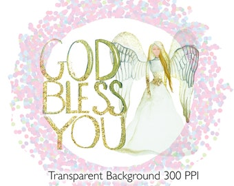 Religious Angel God Bless You Sublimation Digital Image Transfer Saying with Free Commercial Use