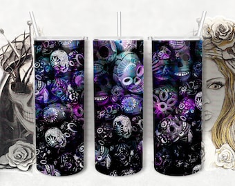 Dark Graffiti Skull Tumbler, 20 0z skinny tumbler designs,  Digital Sublimation Transfer, Abstract Backgrounds,Dark Ombre Tumbler Wrap