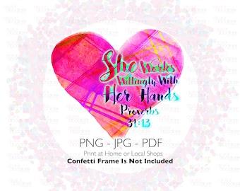 Nurse Sublimation PNG Design | Doctor Art | LPN Design | Proverbs 31:13 | Hand Drawn Digital Download | Printable Artwork | Digital Art |