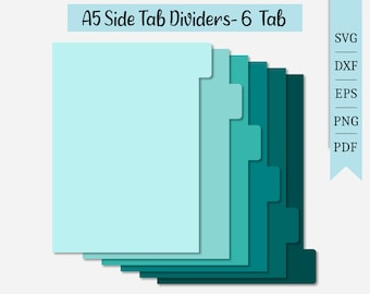 A5 Side Tab Dividers-6 Tabs SVG   Planning Clipart   Cut File Cricut   Journaling File   Svg Dxf Eps Png Pdf   Silhouette   Instant Download