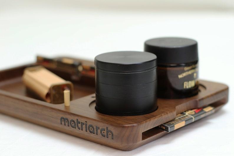 Black Walnut Wood Joint Rolling Tray Stash Jar Base Custom Joint Holder Grinder base