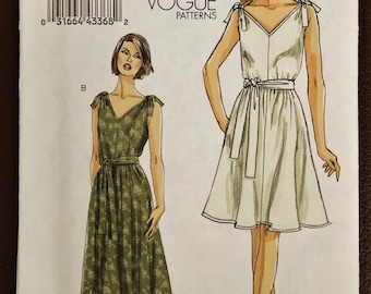 """Sophisticated & Versatile Dress In Two Lengths Sewing Pattern Vogue 8645. Size 8-14. Bust: 31.5-36"""" Sundress Or Cocktail Or Maternity UNCUT!"""