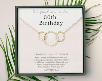 30th birthday gift for woman • 3 rings for 3 decades • Meaningful 30th birthday necklace • Interlocking circles Sterling Silver jewelry
