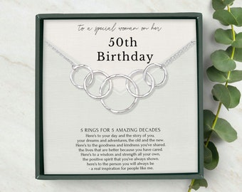 50th birthday gift for woman • 5 rings for 5 decades • 50th birthday gift • Interlocking circle necklace gift for her • Sterling Silver