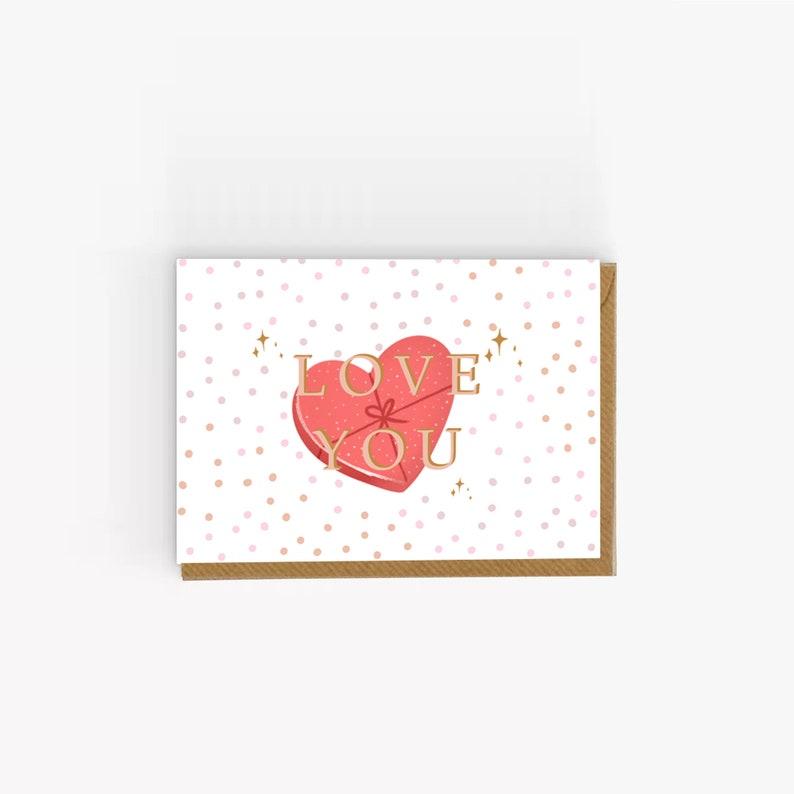 Love You Anniversary Card Valentines Card UK Design Love Heart Card Cute Valentine/'s Day card