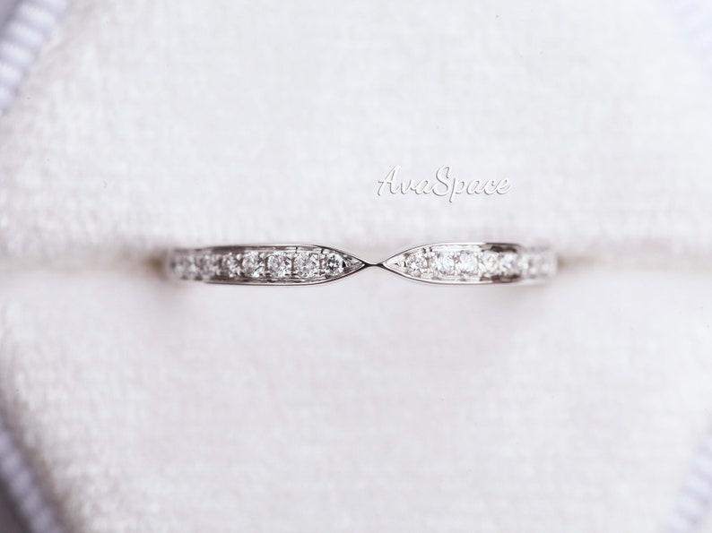 Diamond Wedding Band Art Deco 14K White Gold Bridal Wedding Ring Moissanite Rings For Women Unique Annversary Gift For Her Promise Ring