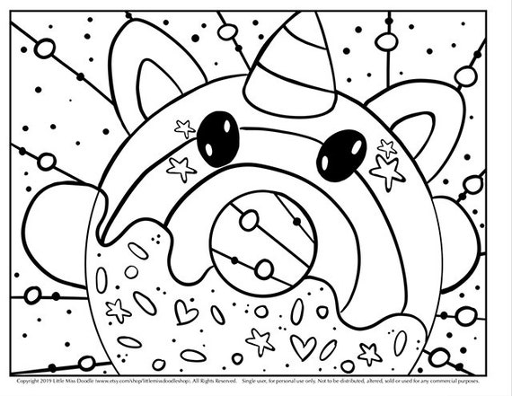 Donutcorn Doodle Printable Cute Kawaii Coloring Page For Kids Etsy
