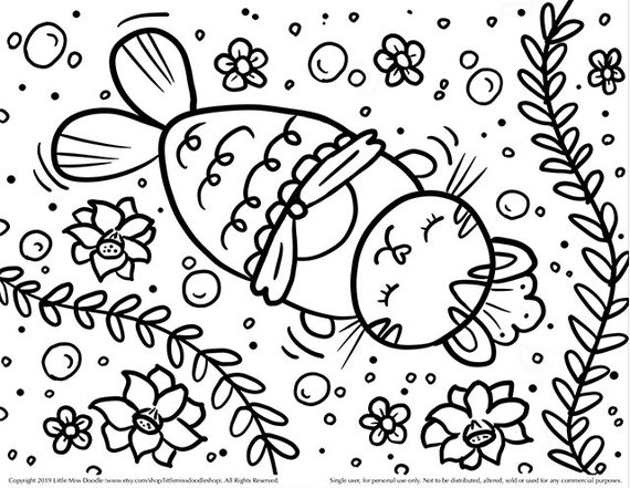 Mermaid Kitty Doodle Printable Cute Kawaii Coloring Page For Etsy