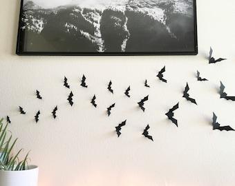 Black Halloween Bats - Halloween Decor, Bat Decor, Halloween Wall Decor, Bat Cutouts, Pop-up Bats, Wall Bats, Haunted House Decor, Bats