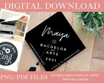 Customized Emphasis DIGITAL DOWNLOAD Graduation Cap Topper - Editable Graduation Cap Topper Printable, College Graduation Cap png/pdf, Corjl
