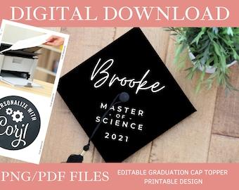 Customized DIGITAL DOWNLOAD Graduation Cap Topper - Editable Graduation Cap Topper Printable, College Graduation Cap png/pdf, Corjl