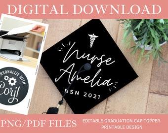 Customized Caduceus Nursing DIGITAL DOWNLOAD Graduation Cap Topper - Editable Graduation Cap Topper Printable, Graduation Cap png/pdf, Corjl