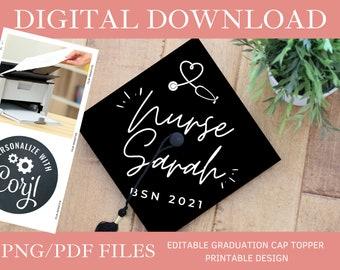 Customized Stethoscope DIGITAL DOWNLOAD Graduation Cap Topper - Editable Graduation Cap Topper Printable, Nursing Graduation Cap png/pdf