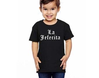 """La Jefecita """"Little Boss, Ms Little Boss"""" Boss Girl Baby Bodysuit or Toddler Tee"""