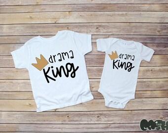 Drama King baby bodysuit/ or toddler tee(white/black/ gold) Baby Shower Gift sibling shirts