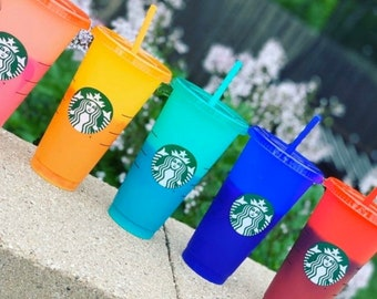 NEW Limited Edition  SUMMER 2020 Blank Starbucks Color Changing Cups Venti Cold Cup Pride 24oz Cup with Straw