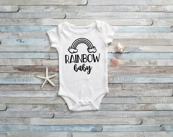 Rainbow Baby bodysuit (white/black) baby shower gift miracle baby blessings