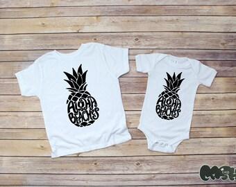 Aloha beaches bodysuit /or toddler tee (white/black) Baby Shower Gift aloha hawaii island pineapple baby shower gift sibling shirts