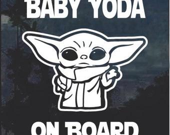 "Baby Yoda Mandalorian Disney Inspired ""Baby Yoda On Board"" Car Window Sticker Decal White"