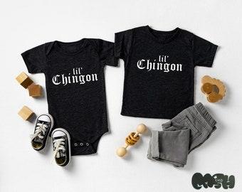 """Lil' Chingon baby bodysuit/ or toddler tee (black/white) spanish sayings """"lil badass"""" babyshower gift sibling shirts"""