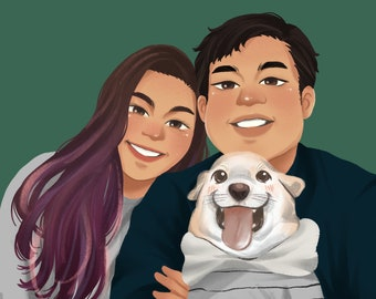 Couples Portrait with Pet, Pet Portrait From Photo with Owner, Dog Portrait Custom Painting From Photo, Custom Dog Painting, Pet Owner Gift