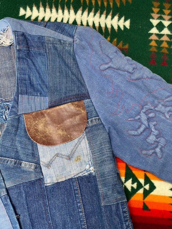 Vintage 1970s Folk Denim Jean Jacket Handmade Wes… - image 3