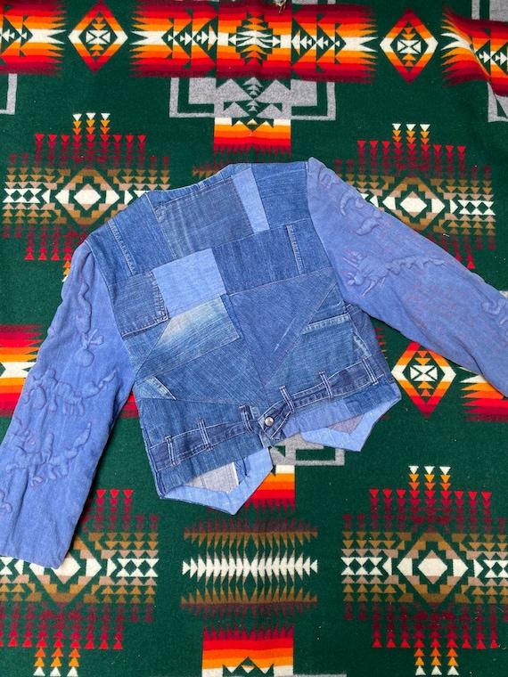 Vintage 1970s Folk Denim Jean Jacket Handmade Wes… - image 5